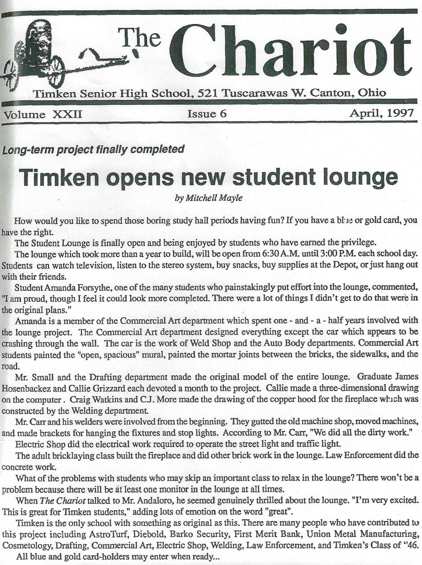 Student Union and Lounge Opened in 1997
